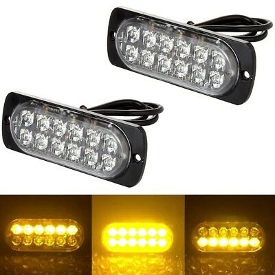 1X12 Led Yellow/White Flashing Light Recovery Lightbar Beacon Truck Van Car Lamp