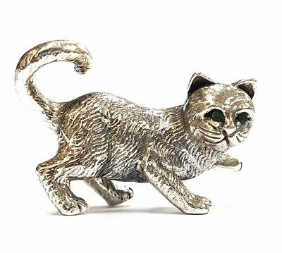 Collectable Novelty Sitting Cat Figure Emerald Eyes 925 Sterling Silver