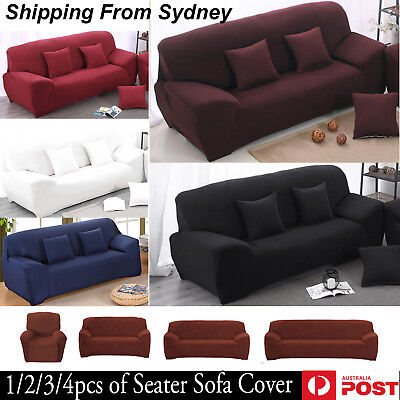 1/2/3/4 Seater Stretch Chair Sofa Cover Lounge Loveseat Couch Protect Slipcover
