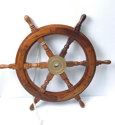 "Boat Captain Pirate Ship Large Wooden Wheel Nautical Wall Decor 25"" Brass Axle"
