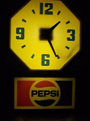Vintage 1970's Pepsi-Cola Lighted Clock Sign (Works Great) Old Soda Advertising