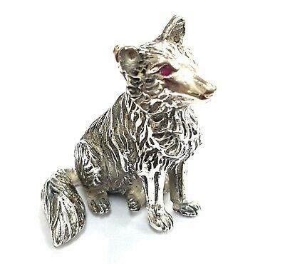 Collectable Novelty Fox Figure Natural Ruby Eyes 925 Sterling Silver Plate