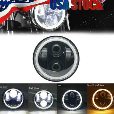 "Harleys Lights 5 3/4"" Black LED Motor Headlight with Halo Ring for Harley 883"