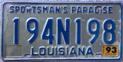 GENUINE 1993 Louisiana Sportsmans Paradise License Licence Number Plate 194N198