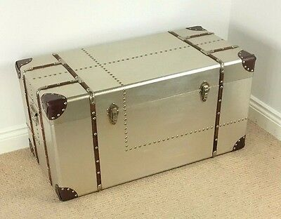 *SECOND* Extra Large Retro Vintage Style Metal & Wood Trunk ~ CHEST COFFEE TABLE
