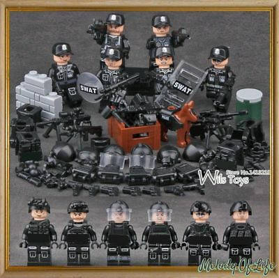 WWII SWAT Soldiers - Gun SWAT - Compatible with Lego - Army Military Gun War
