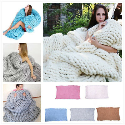 Warm Chunky Knit Blanket Throws Wool Thick Line Yarn Handmade Home Decor Gift AU