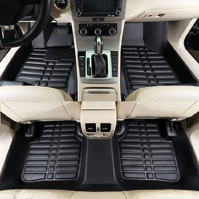 5pc Car Floor Mats Front & Rear Liner Waterproof All Leather Universal Auto Mat