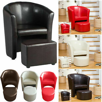 Luxury Faux Leather Tub Chair Comfortable with Foot Stool That fit underneath..