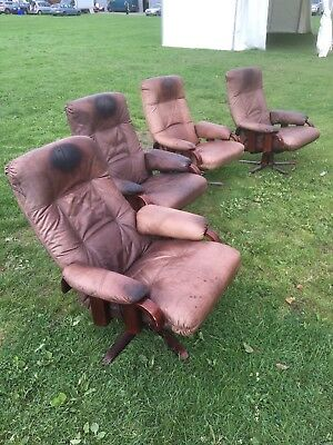 Vintage 1950s Danish  Leather Swivel Chairs