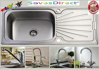 Single Super Large 1.0 Bowl Stainless Steel Kitchen Sink & Waste +Choice of Taps