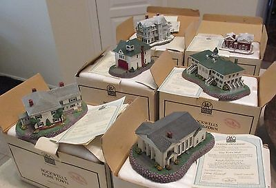 Norman Rockwell's Main Street Home Town Buildings w/COA's Vintage Lot of 6 MIB