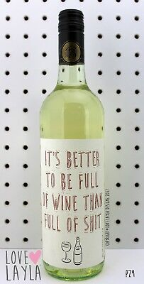 Wine Label Full of Shit/Comedy/Novelty/Funny/Humour/Love Layla/#BK