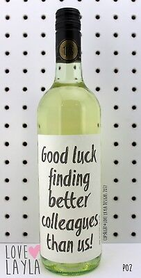 Wine Label New Job/ Better Colleagues/Comedy/Novelty/Funny/Humour/Love Layla/P02