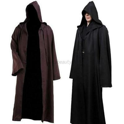 USA Adult Hooded Cape Cloak Halloween Robe Medieval Witchcraft Cosplay Costume