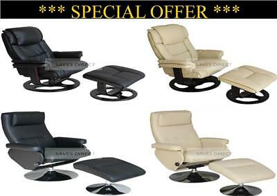 New Stylish Faux Leather Swivel Chair & Footstool Recliner Armchair & Foot Stool