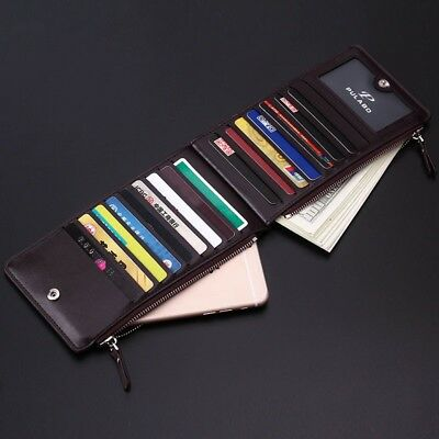 AU Mens Business Slim Zipper Long Wallet Credit Card ID Holder Bifold Cash Purse