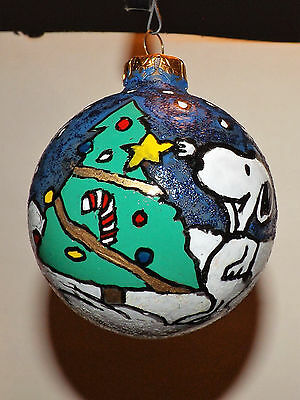 Peanuts Snoopy & Charlie HAND PAINTED GLITTERED Christmas Bulb Ornament