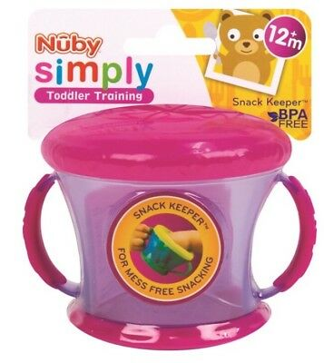 Nuby BPA Free Snack Keeper Toddler Training Food Cup Soft Rubber Lid Handle Pink