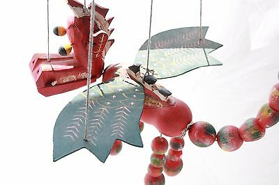 Wooden Red Dragon Marionette Mobile with Hearts on Wings Excellent Condition