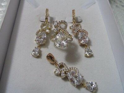 Handcraft 925 Sterling Silver Jewelry White Topaz Ladie's Full Set