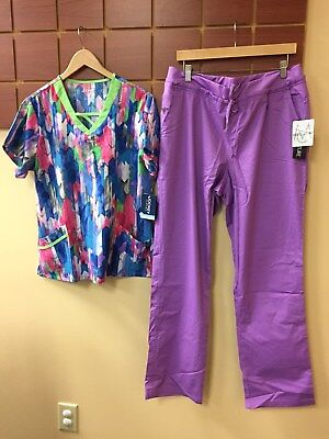NEW Purple Print Scrubs Set With Jockey Large Top & Med Couture L Tall Pants NWT