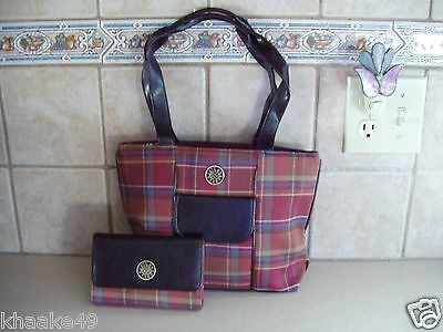 Longaberger Toboso Plaid Purse + Wallet With Removable Id Holder Nip * Free Ship