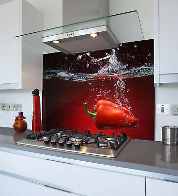 Heat Resistant Toughened Printed Glass Splashback - Red Pepper Splash