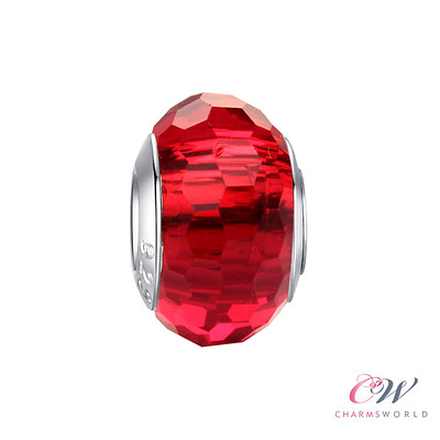 NEW 925 Silver Glass Faceted Red Murano Bead Charm for Charm Bracelet. 2 for £10