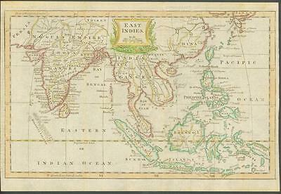 """1770 Original Antique Map """"EAST INDIES"""" by T KITCHIN Hand coloured INDIA CHINA"""