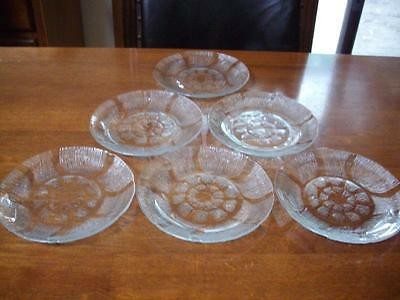 6 Beautiful Kig Indonesia Glass Cake/side Plates  With Grid Pattern-Excellent