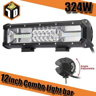 7D Tri-Row 12Inch 324W LED Work Light Bar Combo Flood Spot Truck SUV Offroad 4WD