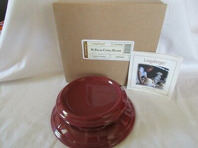 Longaberger Woven Traditions Pottery Paprika Pillar Candle Holder in box 3163640