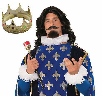 Henry 8th King Fancy Dress Gold Crown Wand and Ruff Set Neck Ruffles Wrist Frill