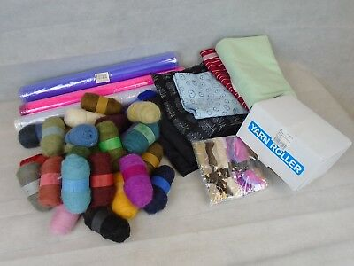 Job Lot of 26 Felt Balls Yarn Roller Embroidery Floss and Mixed Fabric Material