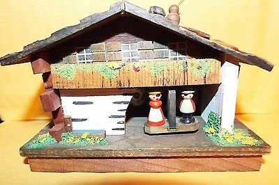 Vintage Swiss Love Song Wooden Music Box House Wooden, A Lot of Detail