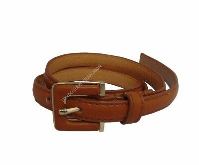 Woman's Ladies Girls New Skinny Leather Waist Belt Dress Jeans Belt Tan/Brown