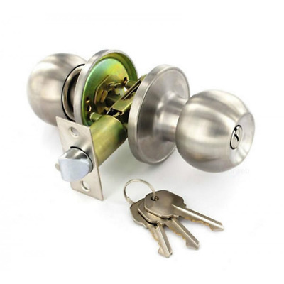 Satin Stainless Steel Door Knob Set - Entrance Key Locking