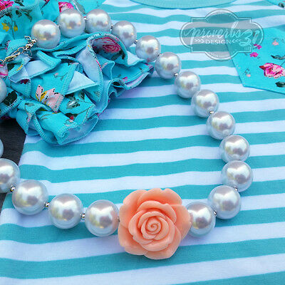 Girls Peachy Pink Rosette Necklace