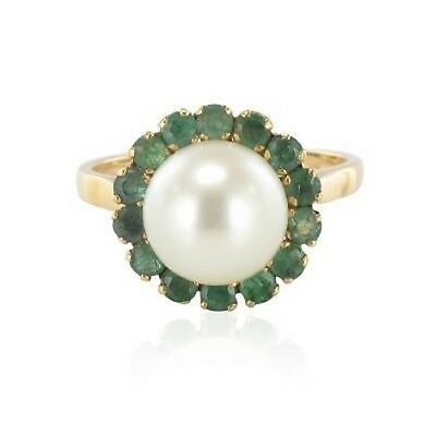 Ring pearl emeralds Yellow gold 18K Vintage Ring