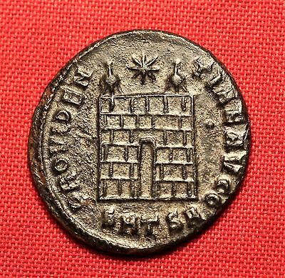 Ancient Roman Constantinus Silvered Bronze AE3 Coin, Camp Gate!