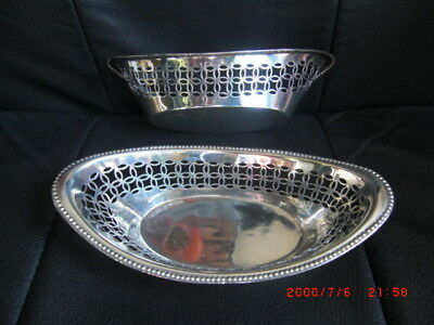 Delightful pair of Antique Pierced Solid Silver Bon Bon Dishes c1895 NO RESERVE