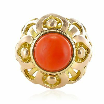 Ring Dome Coral Yellow gold 18K Vintage Modern Ring