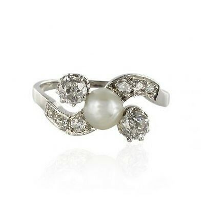 Ring old pearl delicate button diamonds White gold 18K Beautiful looking period
