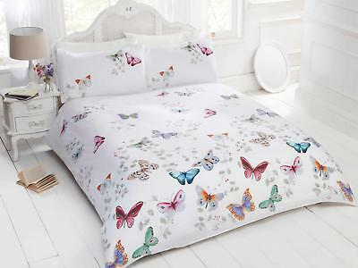 Butterfly Bedding Set White Duvet Cover Pillow Cases Single Double King