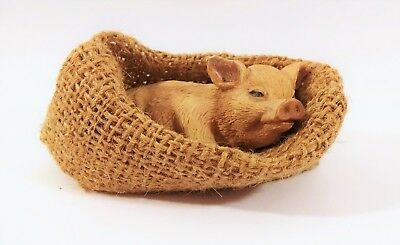 PIG FIGURINE IN A BLANKET! Lounging in burlap sack: Resin 4 inches long
