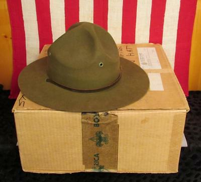 Vintage 1940s Boy Scouts of America Stetson Campaign Hat Scout Master Orig. Box
