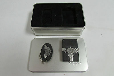 Unfired 1997 Harley Davidson Bootstrap Zippo Lighter & Keychain Set LOOK!!