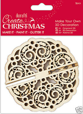 Docrafts wood craft decoration Bare basics wooden Create Christmas 3D BAUBLE