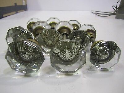 Vtg Antique Lot of 6 Sets of Glass Door Knobs shafts (J)